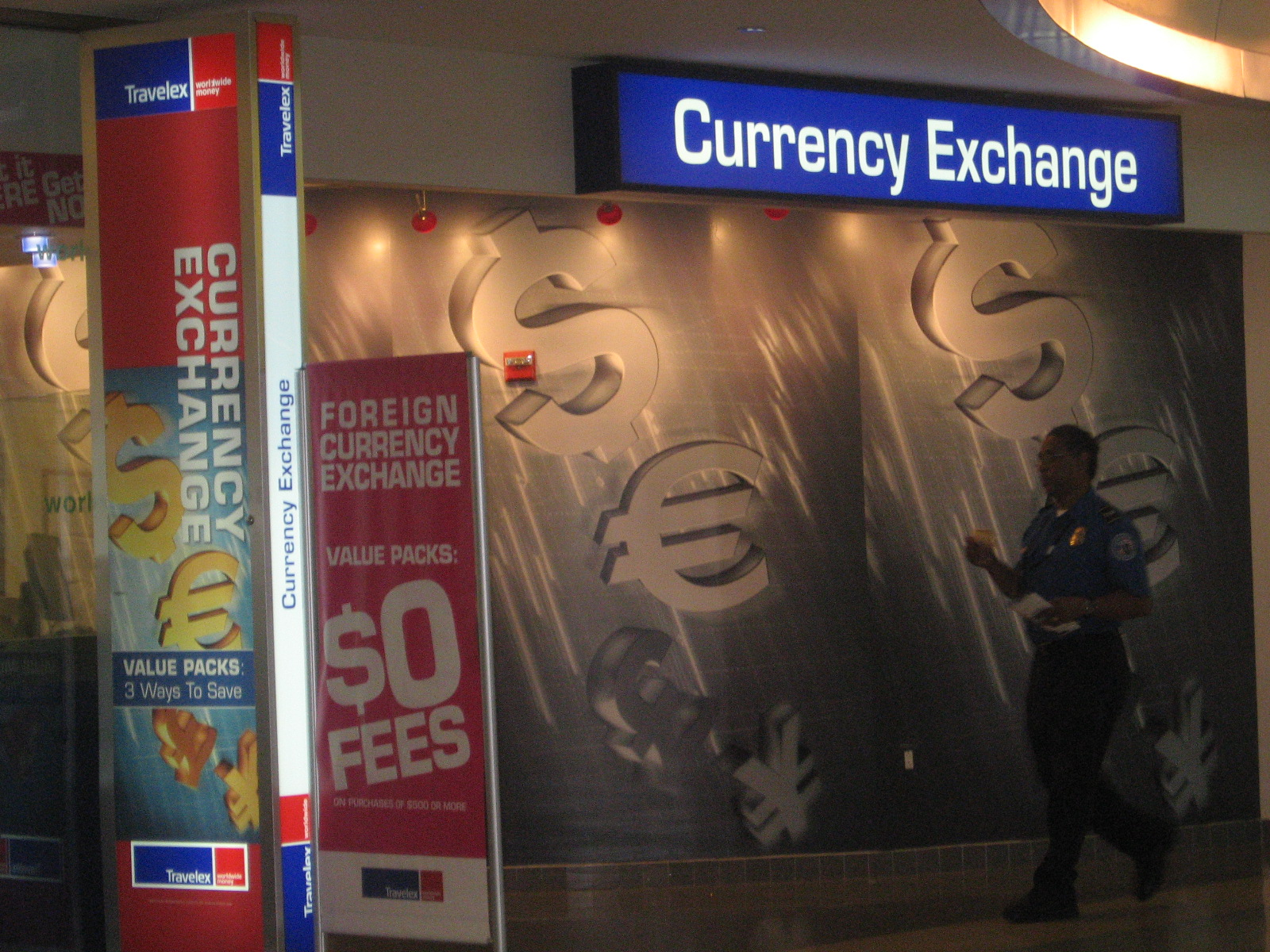 Exchanging currency at Delhi Airport, India