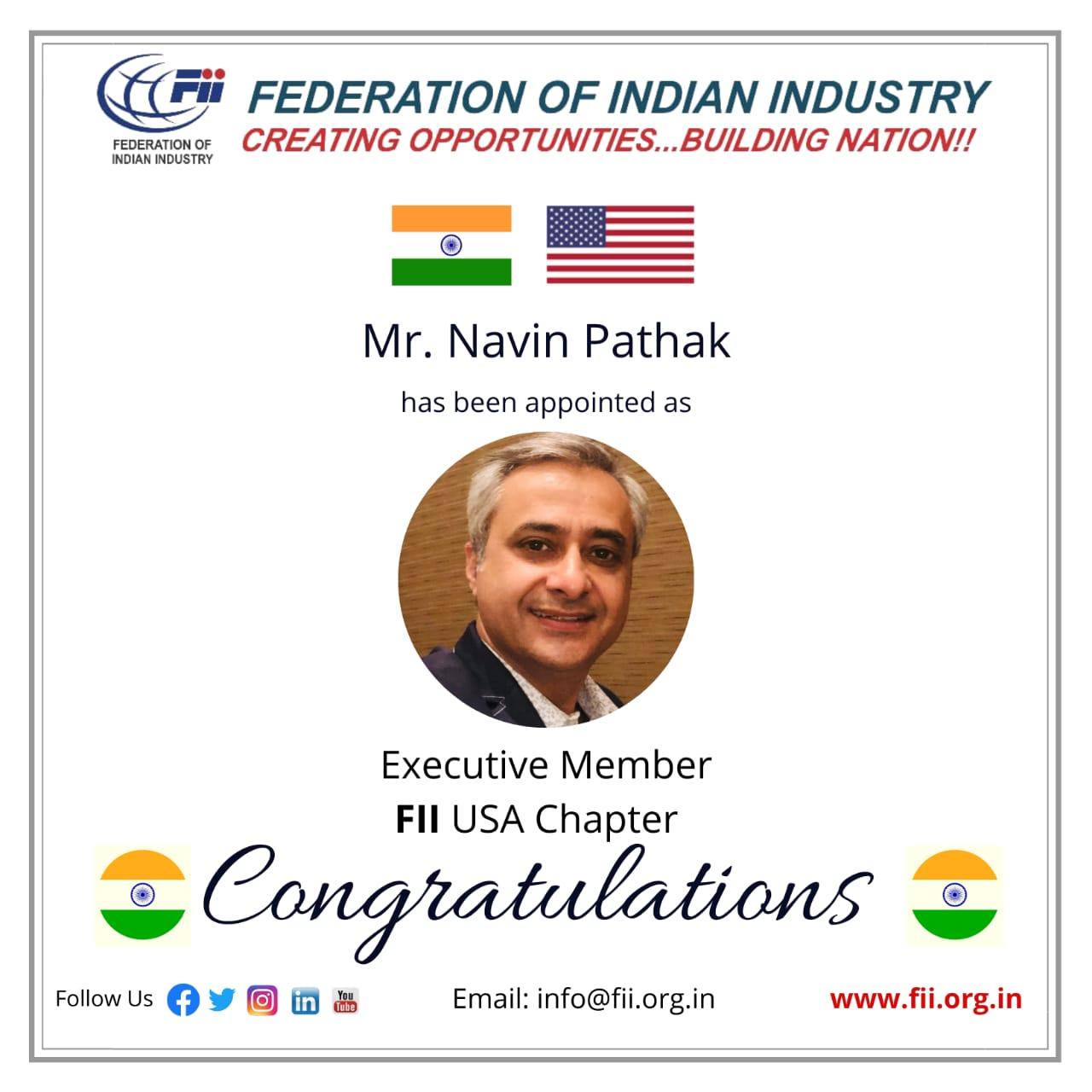 Navin Pathak Executive Member of FII US Chapter